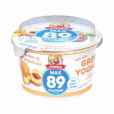 Bilde av Synnøve gresk yoghurt 89 kalorier fersken og pasjonsfrukt.