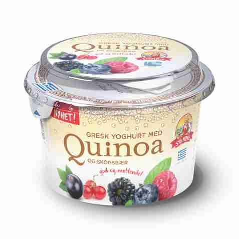 Bilde av Synnøve gresk yoghurt med quinoa og skogsbær.