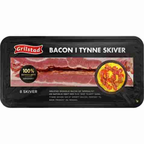 Bilde av Grilstad bacon i tynne skiver.