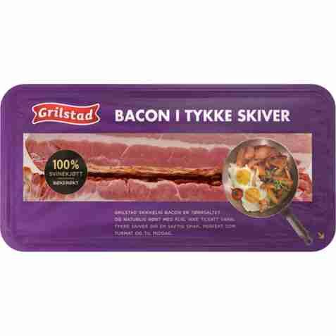 Bilde av Grilstad bacon i tykke skiver.