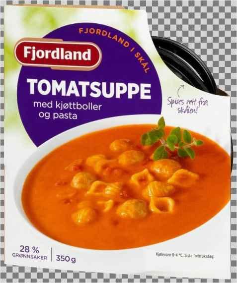 Bilde av Fjordland tomatsuppe med kjøttboller.