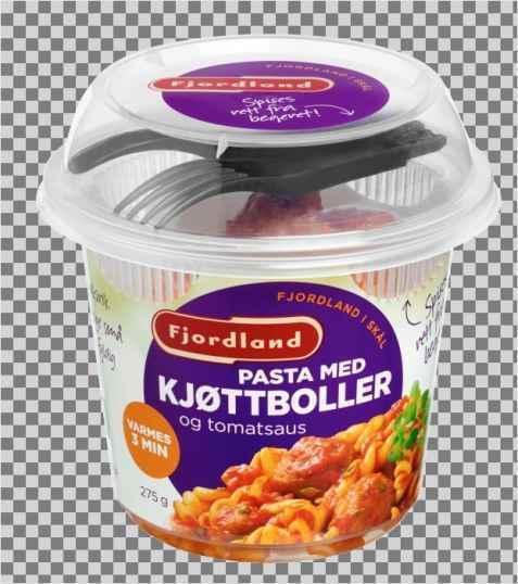 Bilde av Fjordland Pasta med kjøttboller og tomatsaus.