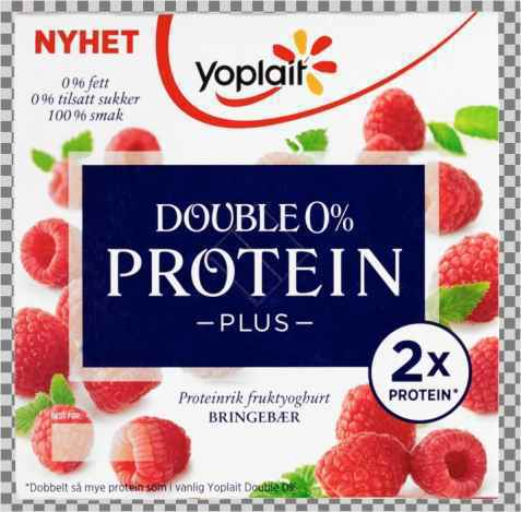 Bilde av Yoplait Double 0% Protein Plus Bringebær.