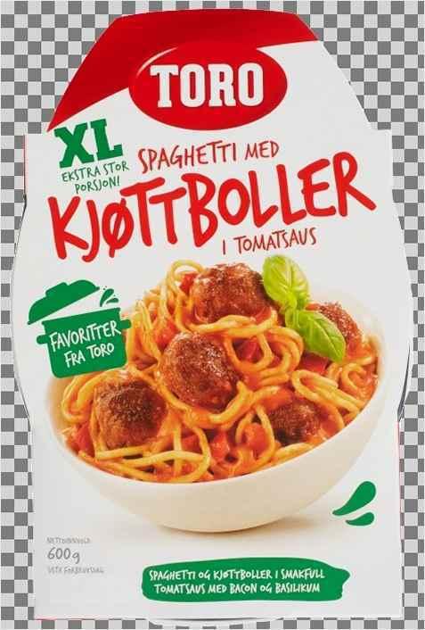 Bilde av Toro pasta med kjøttboller i tomatsaus ferdig.