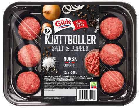 Bilde av Gilde rå Kjøttboller med salt og pepper.