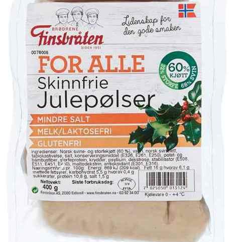 Bilde av Finsbråten for alle skinnfrie julepølser.