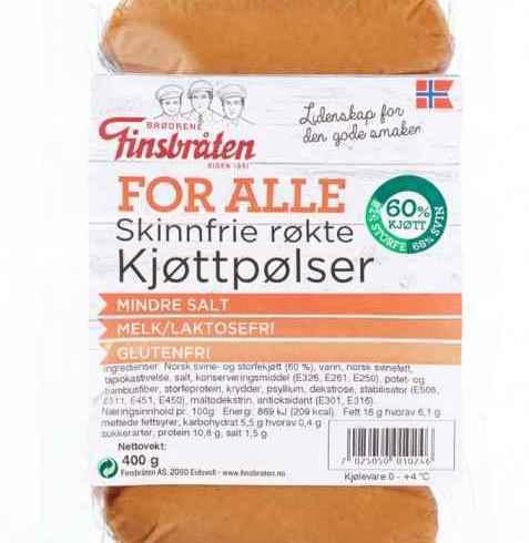 Bilde av Finsbråten for alle skinnfrie røkte kjøttpølser.