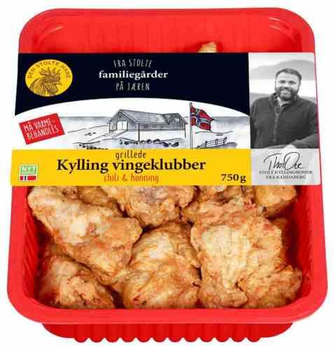Bilde av Den stolte hane grillede vingeklubber chili og honning.