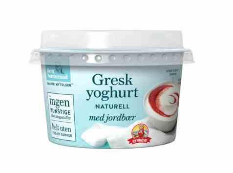 Bilde av Synnøve gresk yoghurt naturell med jordbær.