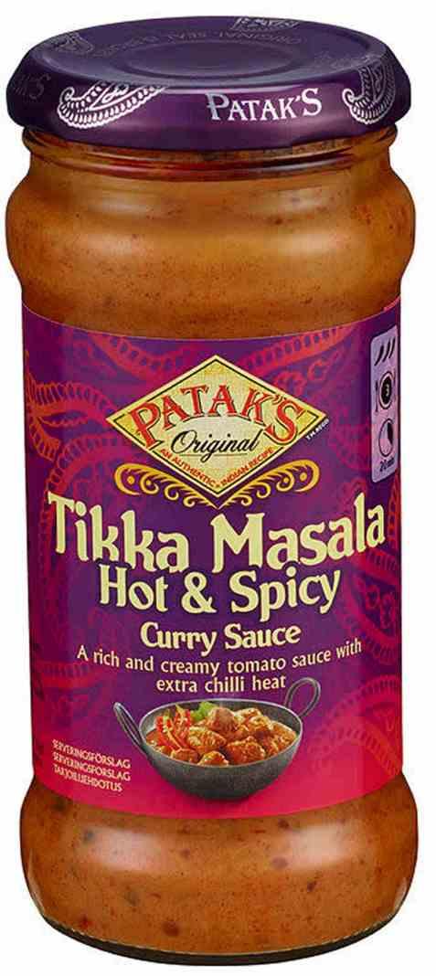 Bilde av Pataks Tikka Masala Hot&Spicy Cooking saus.