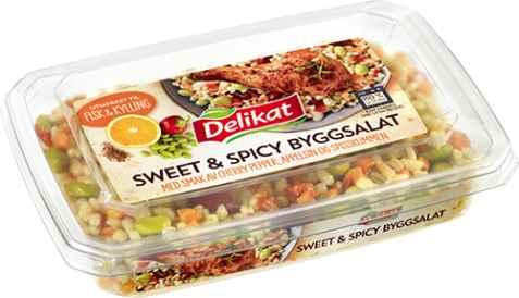 Bilde av Delikat sweet and spicy byggsalat.
