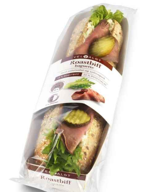 Bilde av Bama VelValgt baguette med roastbiff og potetsalat.