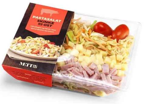 Bilde av Bama mett og go salat med pasta, skinke og ost.