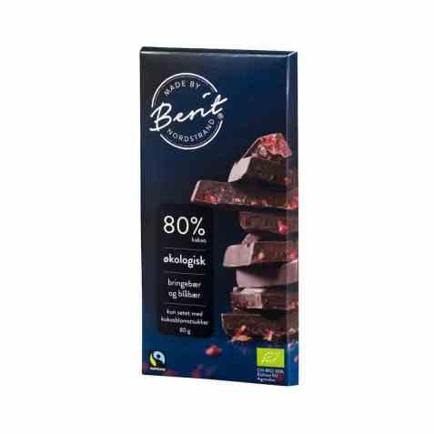 Bilde av Synnøve Mørk sjokolade 80 prosent kakao Blåbær og Bringebær.