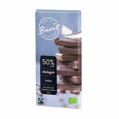 Bilde av Berit Nordstrand Sjokolade 50 prosent kakao kokos.