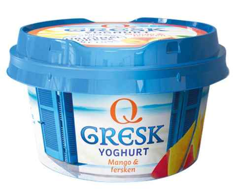Bilde av Q gresk yoghurt mango og fersken.