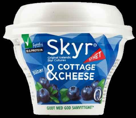 Bilde av Q skyr cottage cheese blåbær.