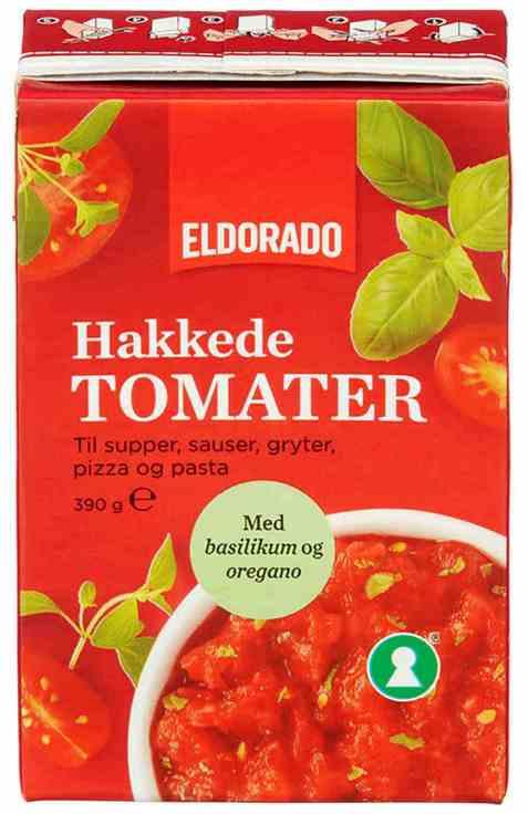 Bilde av Eldorado tomater hakkede med basilikum og oregano.