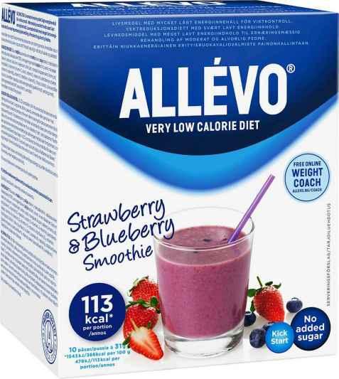 Bilde av Allevo VLCD jordbær og blåbær smoothie.