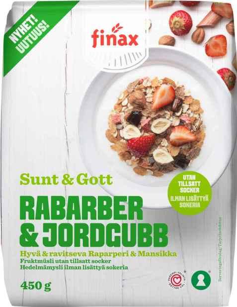 Bilde av Finax sunt og gott rabarber og jordgubb.