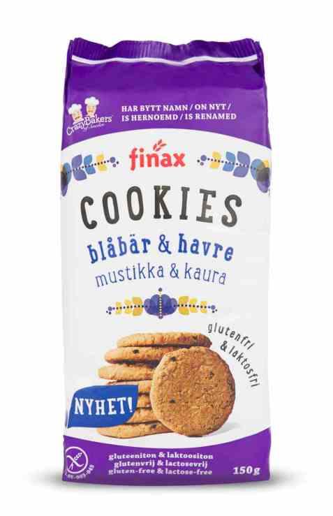Bilde av Finax glutenfri blåbær og havre cookies.