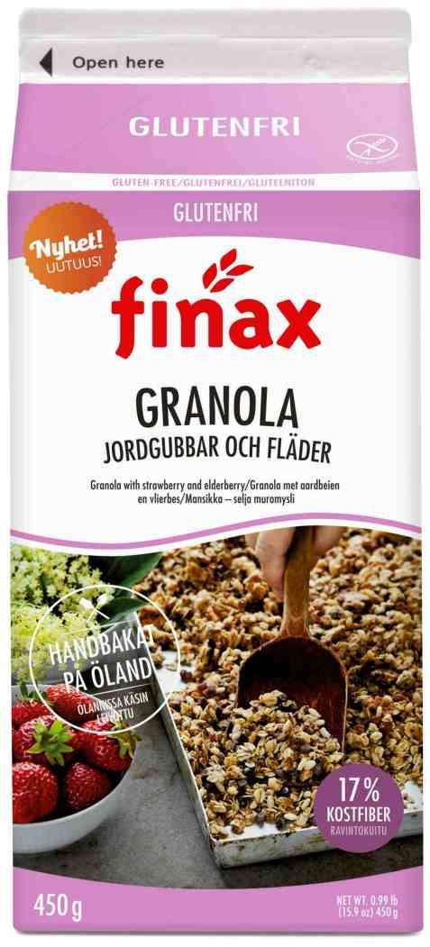 Bilde av Finax glutenfri granola jordgubbar og flader.