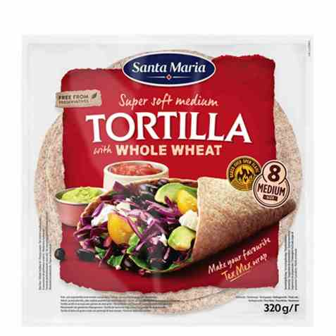 Bilde av Santa Maria tortilla whole wheat medium.