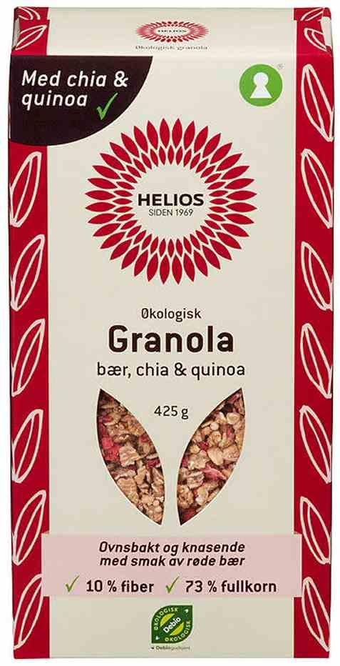 Bilde av Helios granola, bær, chia og quinoa.