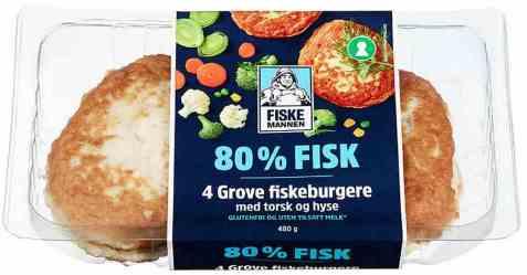 Bilde av Fiskemannen fiskeburger 80% med torsk og hyse.