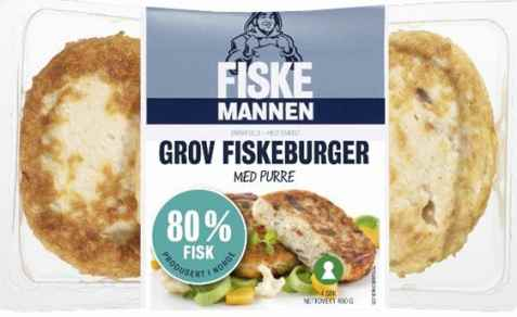 Bilde av Fiskemannen Fiskeburger 80% grov med purre.