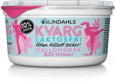 Bilde av Lindahls laktosefri kvarg bringebærsmak.