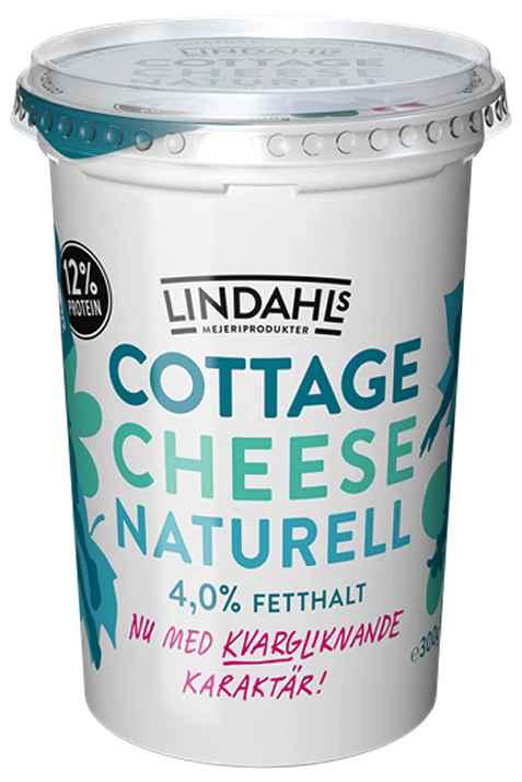 Bilde av Lindahls cottage cheese naturell med kvargliknande karakter.