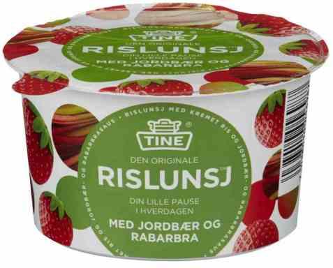 Bilde av Tine Rislunsj med jordbær og rabarbra.