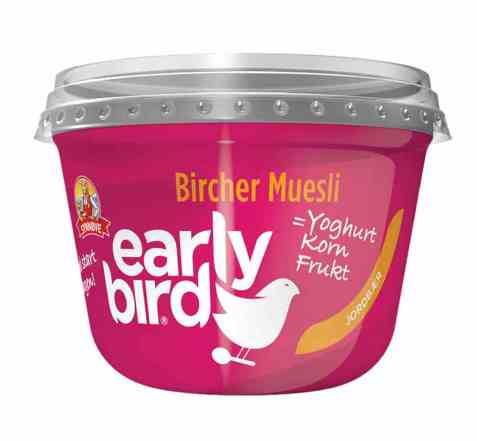 Bilde av Synnøve Early Bird Bircher Müsli med yoghurt, jordbær og havre.