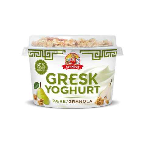 Bilde av Synnøve gresk yoghurt pære og granola.