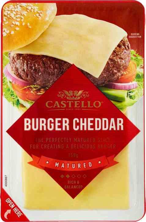 Bilde av Arla castello burger cheddar.