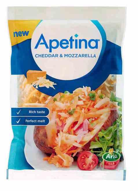 Bilde av Arla Apetina revet cheddar og mozzarella.