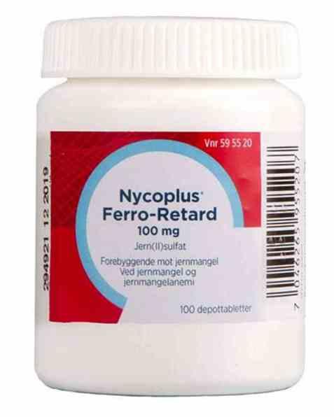 Bilde av Nycomed Nycoplus Ferro-Retard 100mg depottabletter.