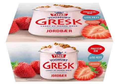 Bilde av TINE Yoghurt gresk jordbær 4 pakning.