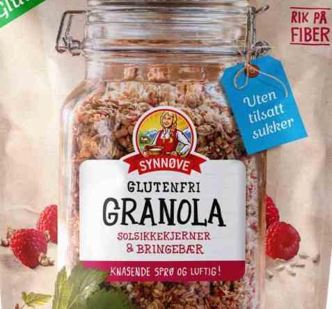 Bilde av Synnøve glutenfri granola med solsikkekjerner og bringebær.