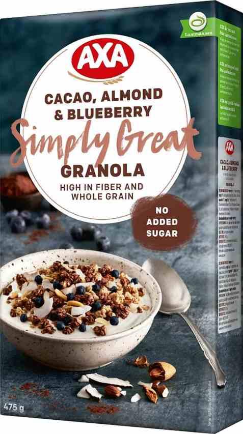 Bilde av Axa granola cacao almond og blueberry.