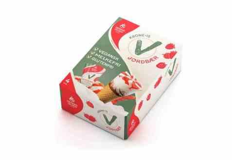 Bilde av Hennig Olsen Kroneis vegan jordbær 4 pakke.