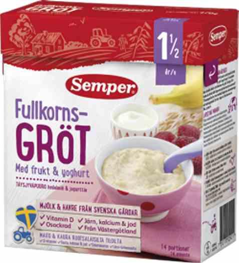 Bilde av Semper fullkornsgrøt med frukt og yoghurt tilberedet.
