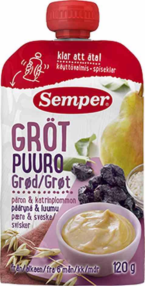Bilde av Semper spiseklar grøt med pære og sviske.
