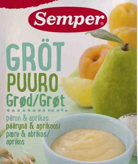 Bilde av Semper spiseklar barnegrøt med pære og aprikos.