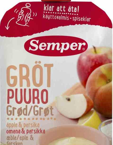 Bilde av Semper spiseklar barnegrøt med eple og fersken.