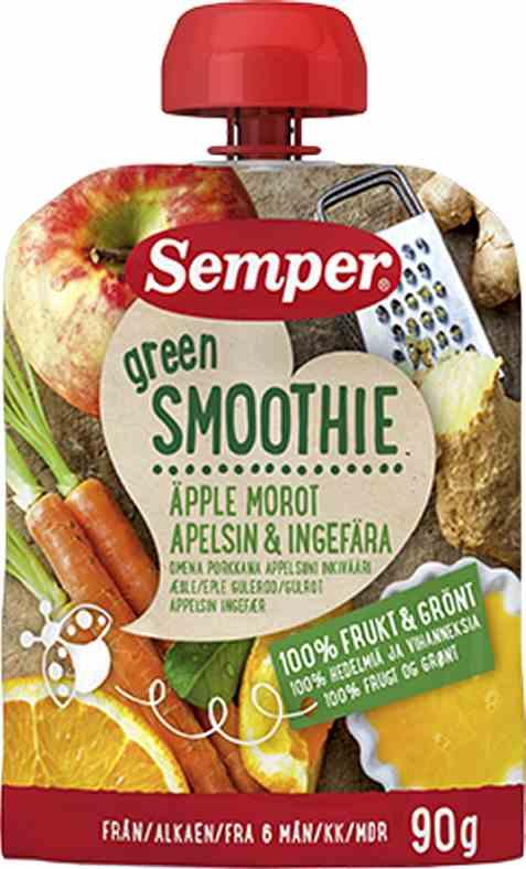 Bilde av Semper Green Smoothie med Eple, Gulrot, Appelsin & Ingefær.
