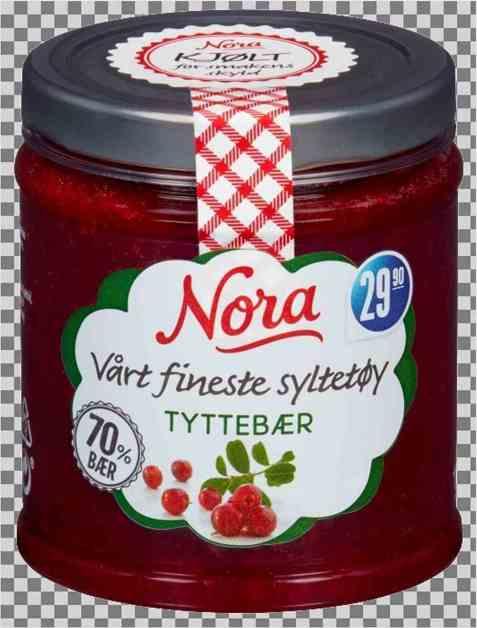 Bilde av Nora kjølt tyttebærsyltetøy.