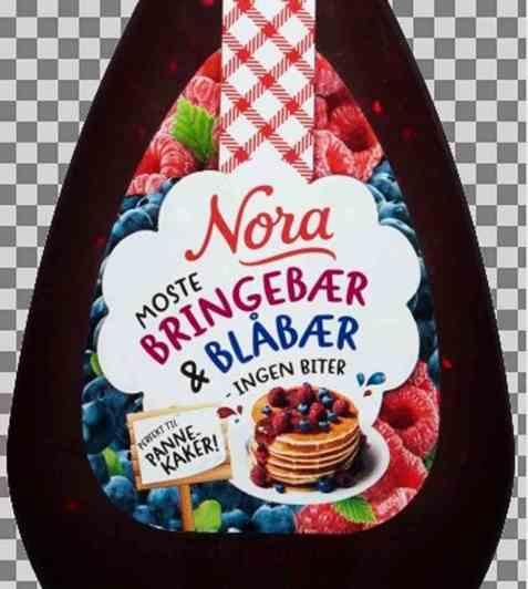 Bilde av Nora Squeezy Bringebær- og blåbærsyltetøy.