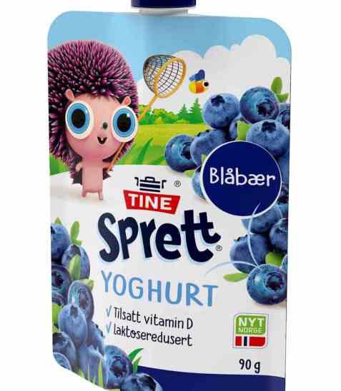 Bilde av Tine sprett yoghurt blåbær klemmepose.